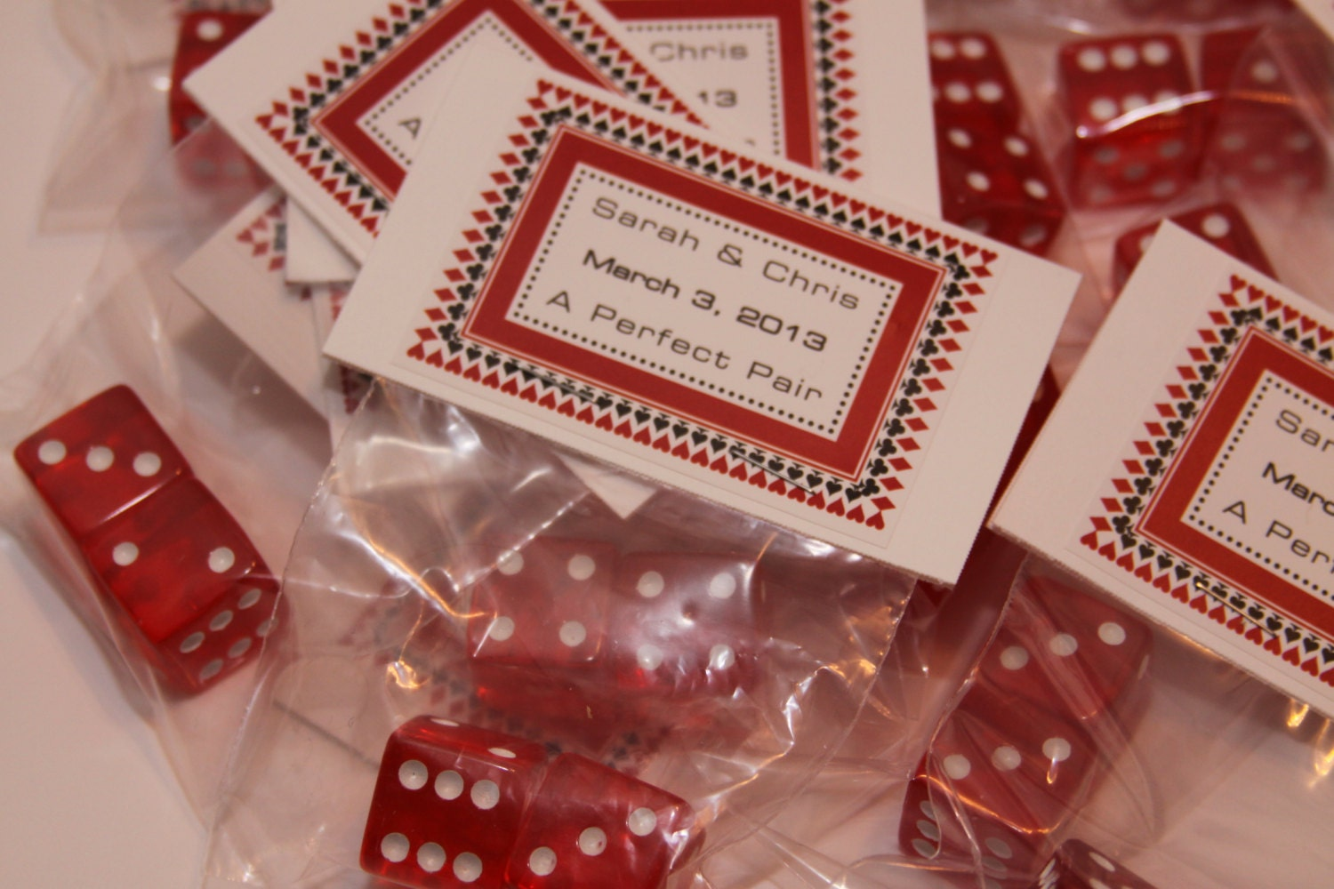 Casino themed dice party wedding favors by for Wedding party accessories