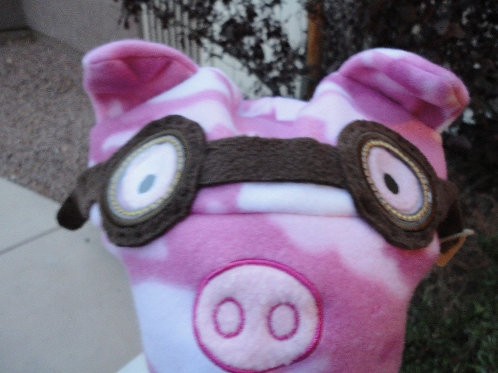 Earflap Hat Pig Piggy Steampunk Aviator Fun Funky Fleece Embroidered Design Pink Camo Made to Order