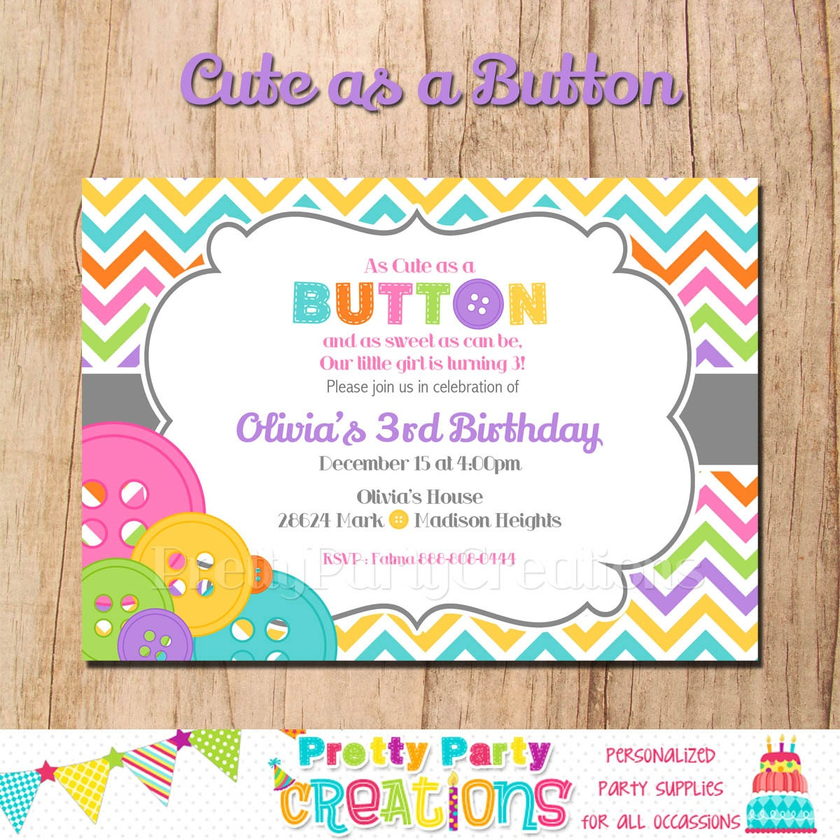 cute as a button invitation you print birthday or baby shower