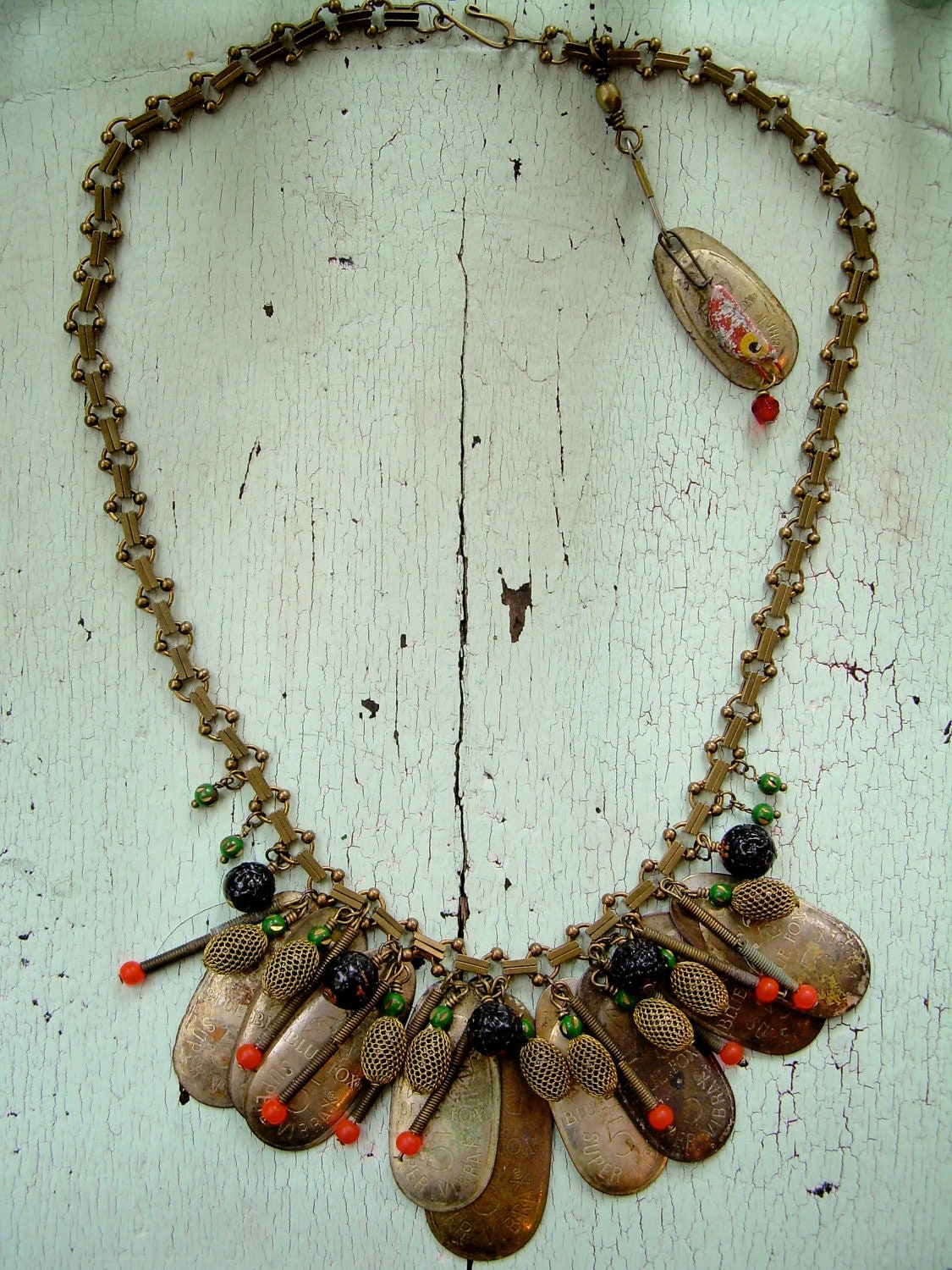 Necklace - Repurposed Vintage - Hunting and Fishing Series - lesliejanson