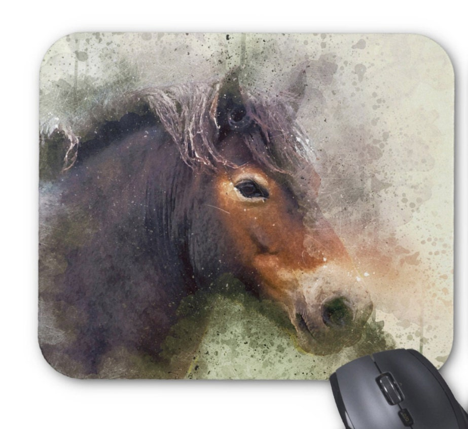 Wild Exmoor Pony  Equine watercolor grunge splatter art  Mouse mat  Mouse Pad