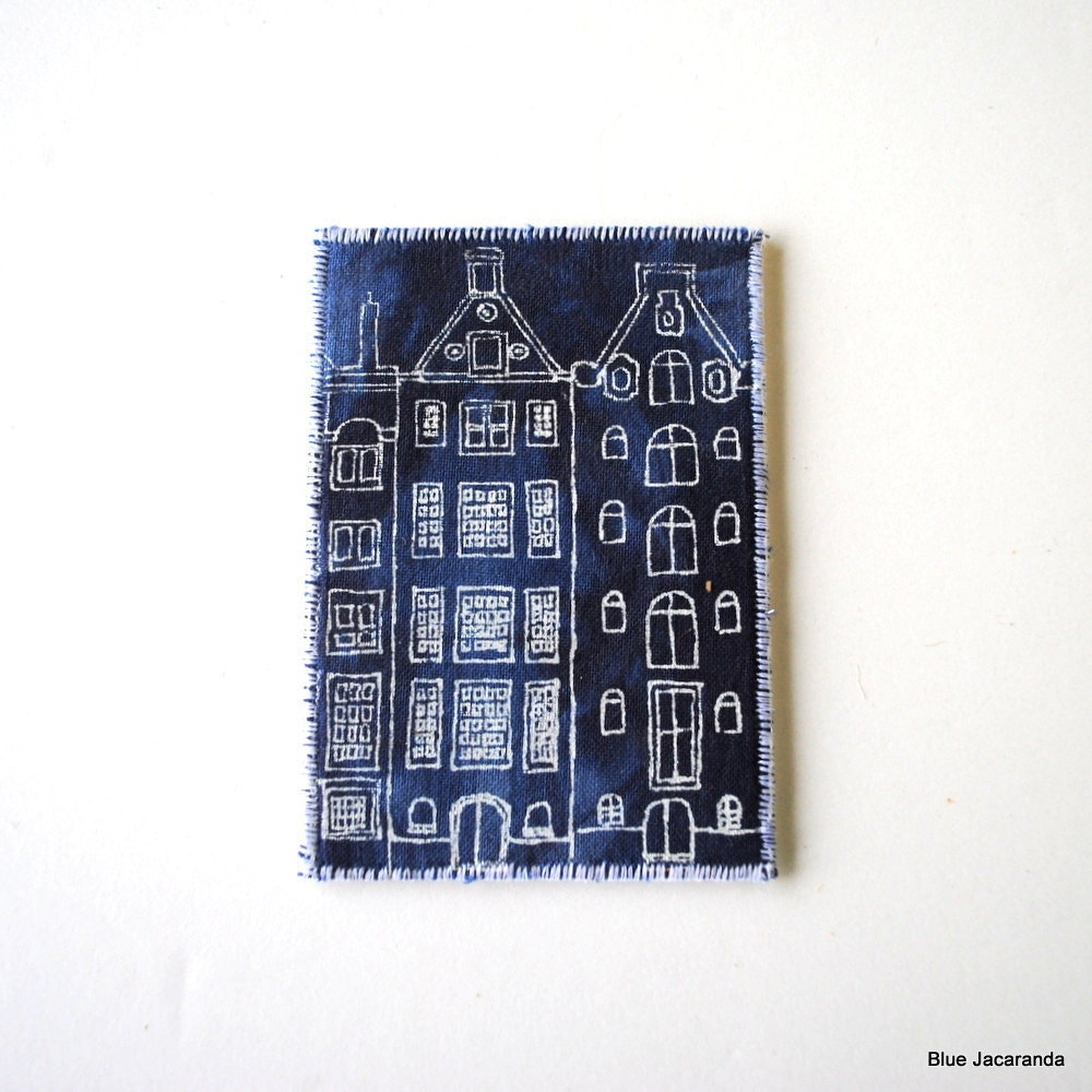 ACEO Dutch Houses - Screen Print on Fabric - White on Blue - Mini Art Card - BlueJacaranda