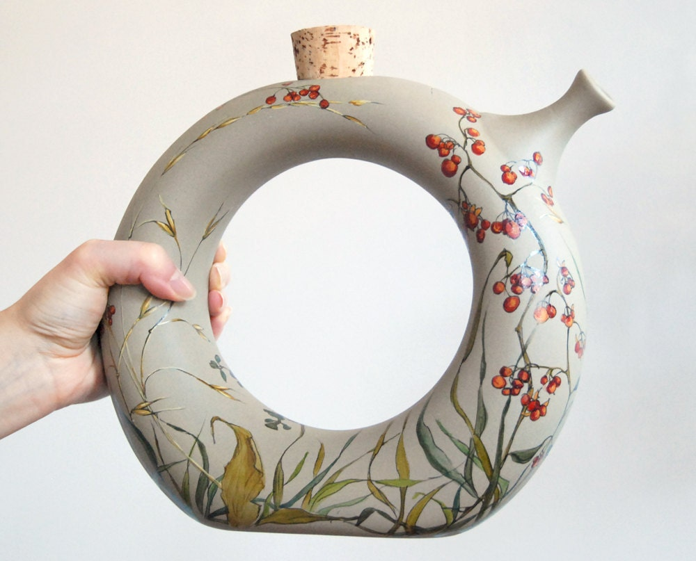 Mod Earthenware Wine Decanter  - Fall Berries Collection - yevgenia