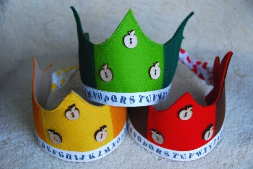 Waldorf Wool Felt Crown -  A is for Apple