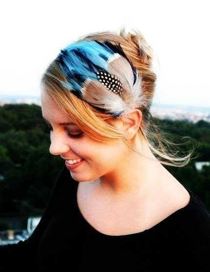 CALLOWAY blue and tan feather headband