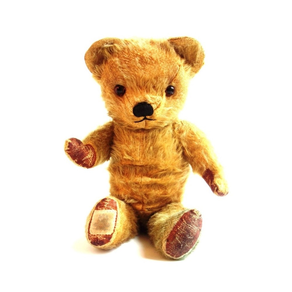 Rare Vintage 1950s Chad Valley Teddy Bear 14 Inch Golden Mohair Fur Jointed Old British Collectable Post War Traditional Nursery Decor Gift