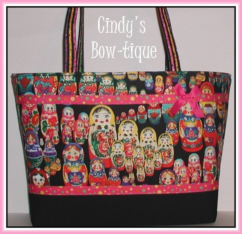Matryoshka Diaper Bag Russian Nesting Dolls Tote Doll Handmade Made in USA