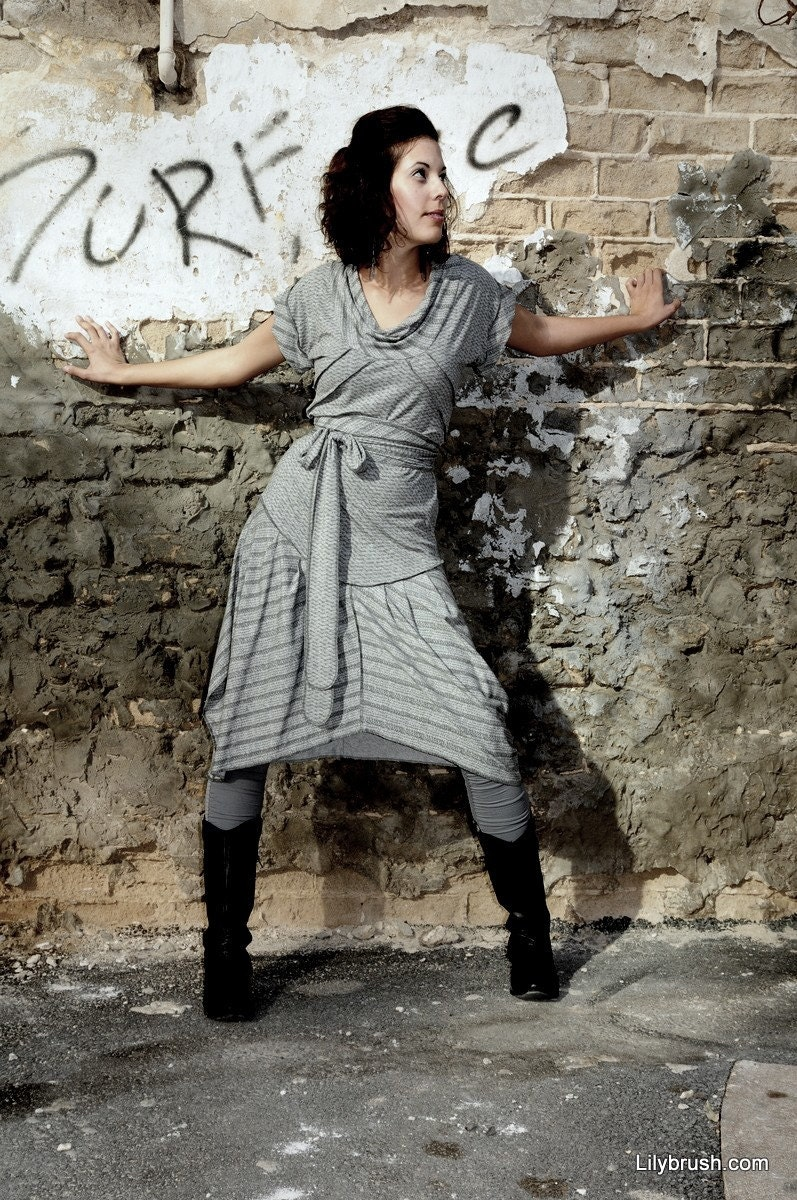Urban dress with draped neckline in light gray