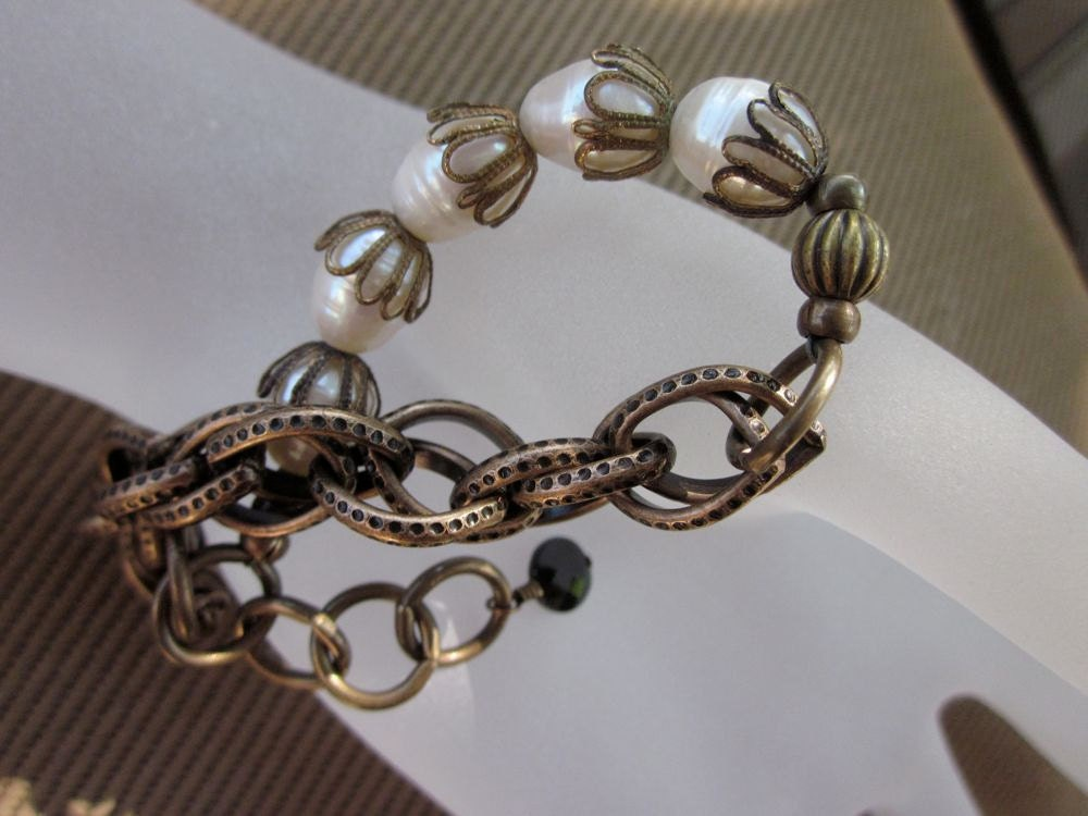 Vintage Brass, Bronze, Pearl and Black Spinel-Black Tie Bracelet