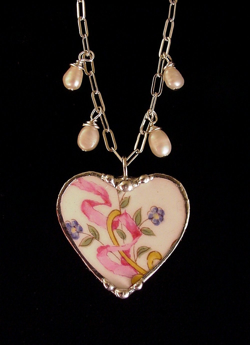 Broken China Jewelry heart pendant necklace forget me nots, pink ribbon, pearls