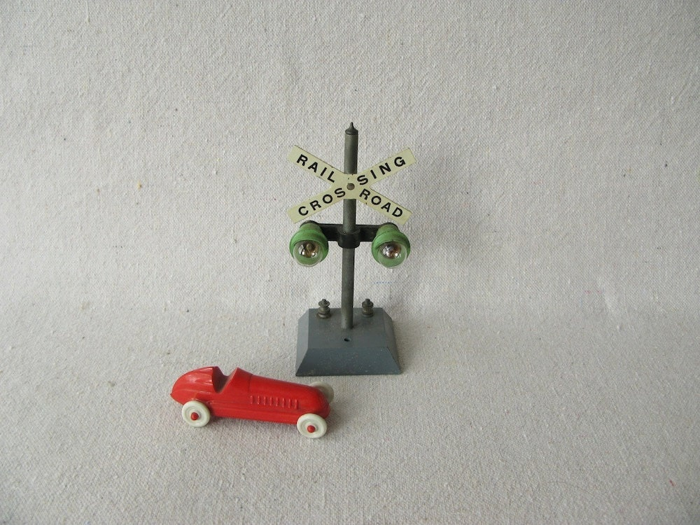 Vintage Toy Railroad Crossing Sign by PassedBy on Etsy
