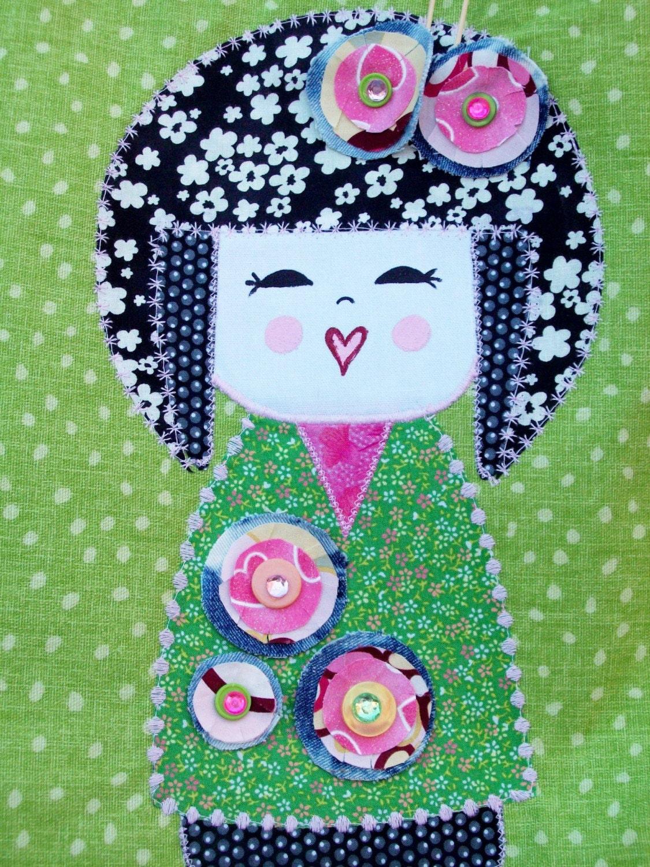 NEW Green Geisha Girl Midori Handbag Created by Mary Moon