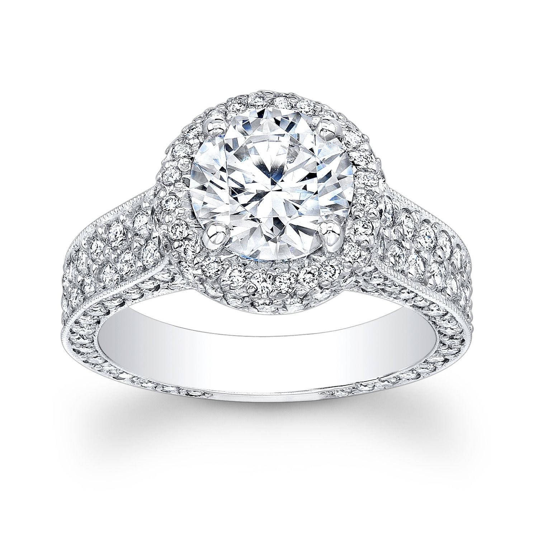 platinum pave halo engagement ring by evsdesign