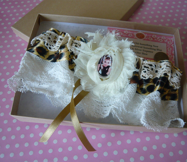 SALE Handmade Romantic Cream Lace Audrey Hepburn Bride Wedding Garter made in England