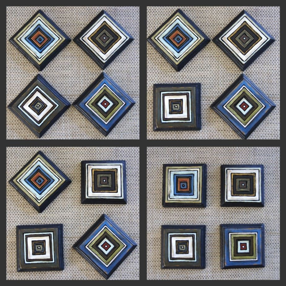 Rustic Blues - Hip To Be Squares - Fun Mix-em-up Wall Art