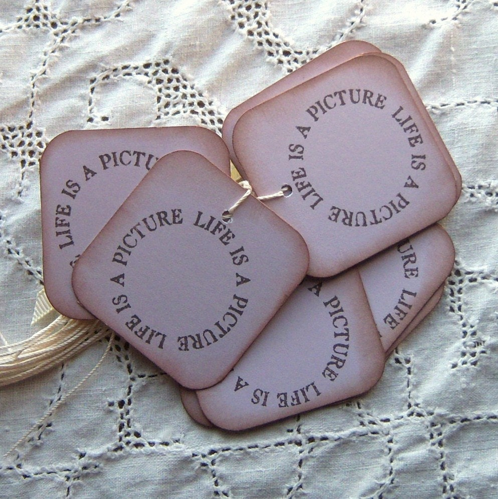 Life is a Picture - Vintage inspired hang tags - Lavender Purple