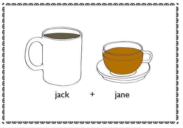Save The Date Postcard or Invitation                            - Tea and Coffee-