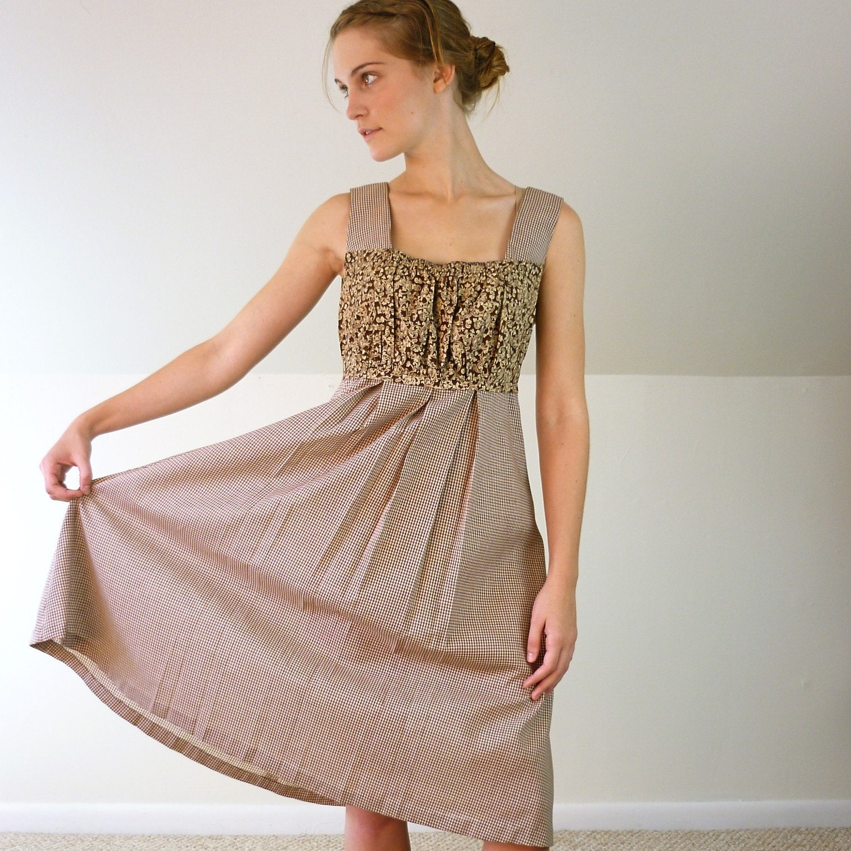 1970's Floral Gingham Dress