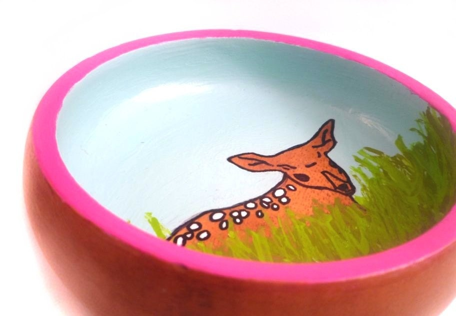 baby deer painted vintage wooden dish to hold jewelry, crafts, office supplies, etc.