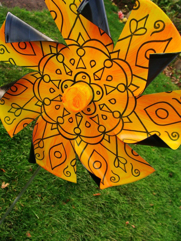 Sunshine Yellow Mandala Pinwheel