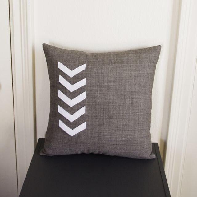 Gray and White Chevron Arrow Pillow
