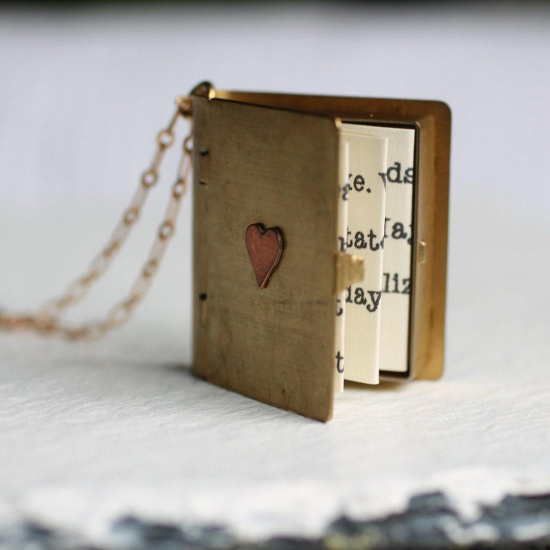 Book Locket Necklace, Secret Message Locket, Personalized Necklace, Book Lovers Necklace, Personalised Gift, Gift for Women, Graduation Gift