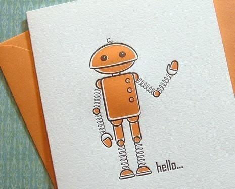 Hello Robot - 3PK Letterpress Greetings (R104SBX3)