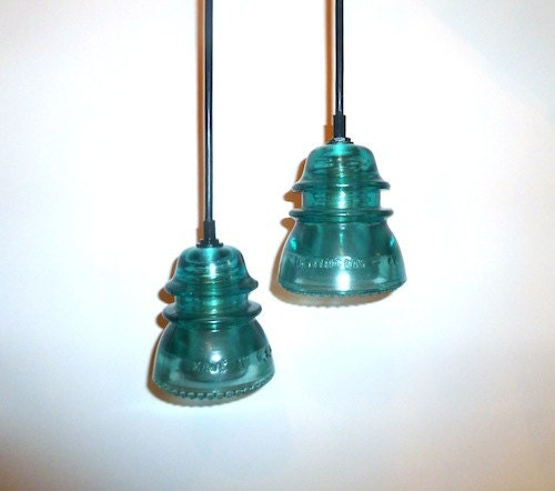 1 handmade antique blue insulator pendant by divinediscoveries for Antique insulator pendant lights