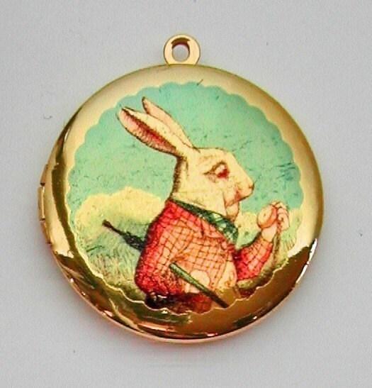 SALE ... ALICE IN WONDERLAND WHITE RABBIT Vintage Brass Photo Locket UNIQUE ART PENDANTS Molly Spilane FREE SHIPPING WORLDWIDE Sale