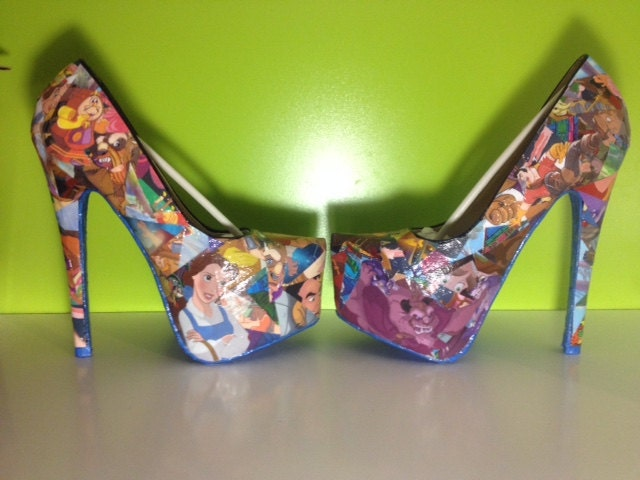 Beauty and the Beast Comic Book Shoes Disney Heels Unique and One of a Kind.