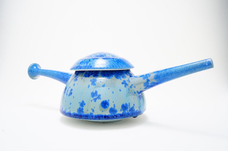 SALE 20% OFF Porcelain Teapot Cobalt Blue Crystalline Glaze Ceramic Contemporary Modern Teapot - budalapottery
