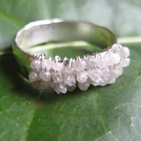 Rough Diamond and Fine Silver Forged Ring