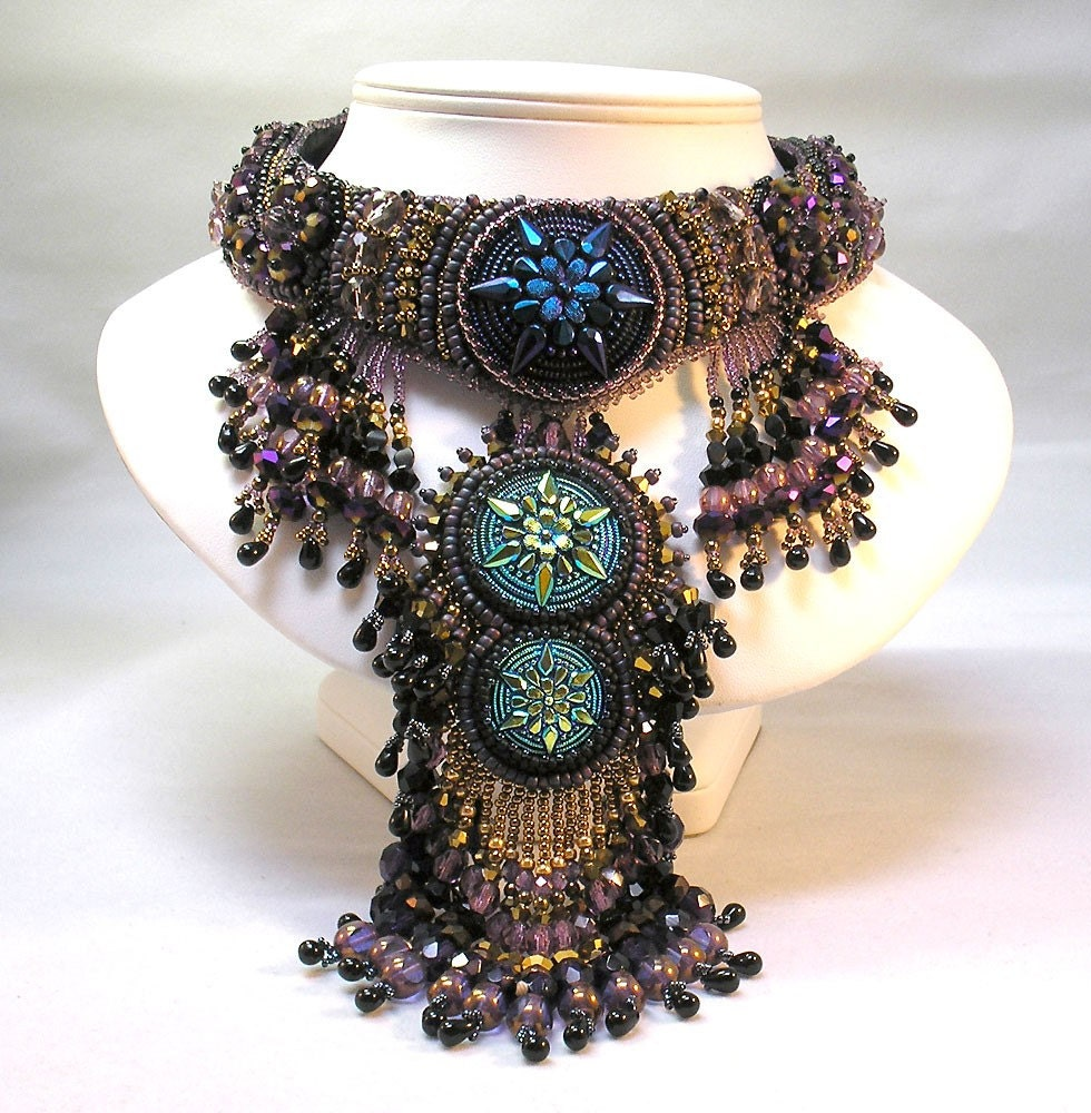 purple blue gold fringe necklace