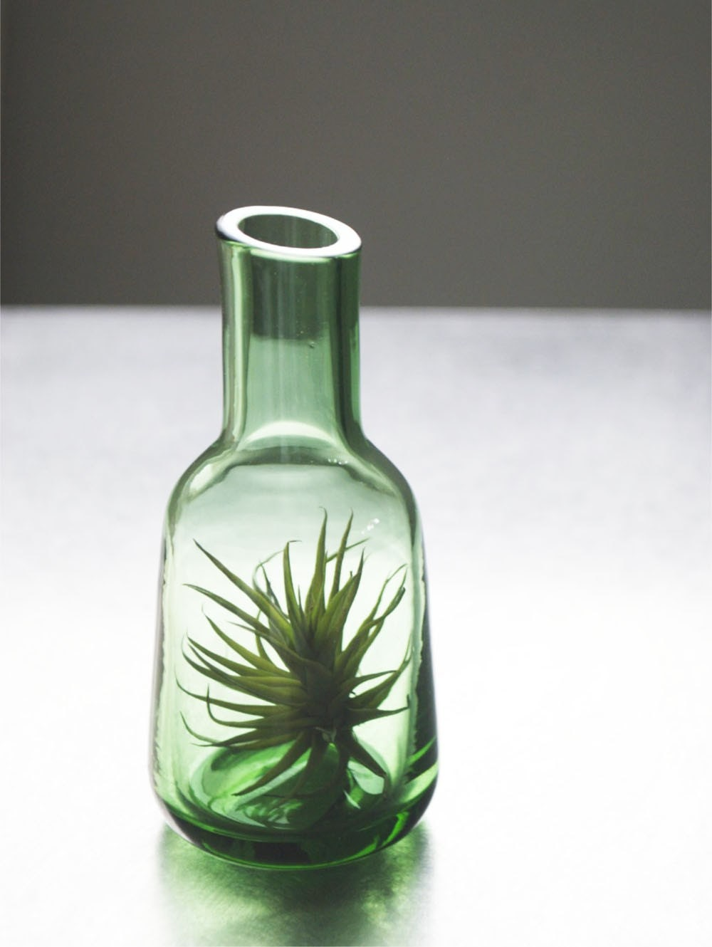 Green Glass Air Plant Vase // Airplant in Small Blown Glass