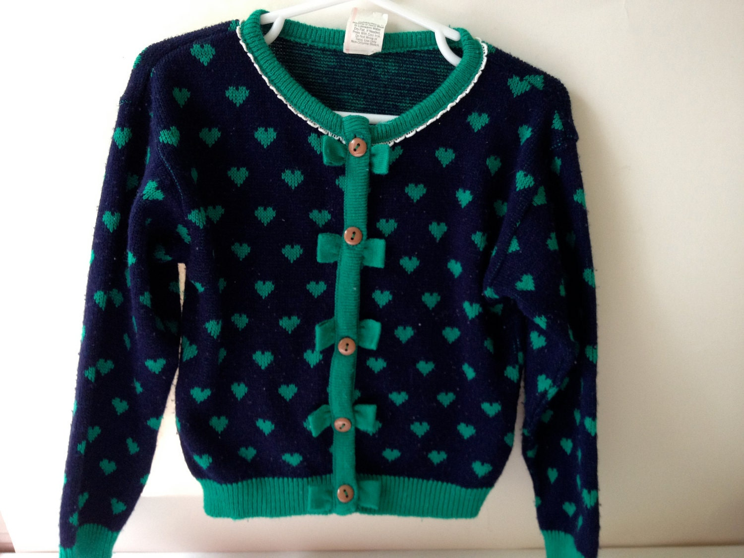 SALE - Vintage Navy Blue/Green Hearts & Bows Cardigan - 4T