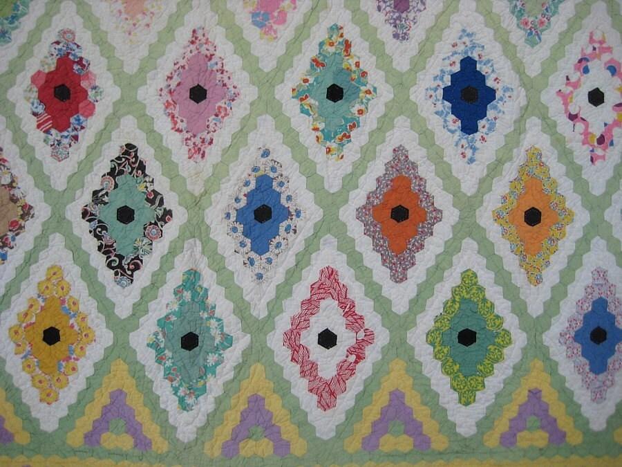 Antique Quilt - Diamond Hexagon Pattern