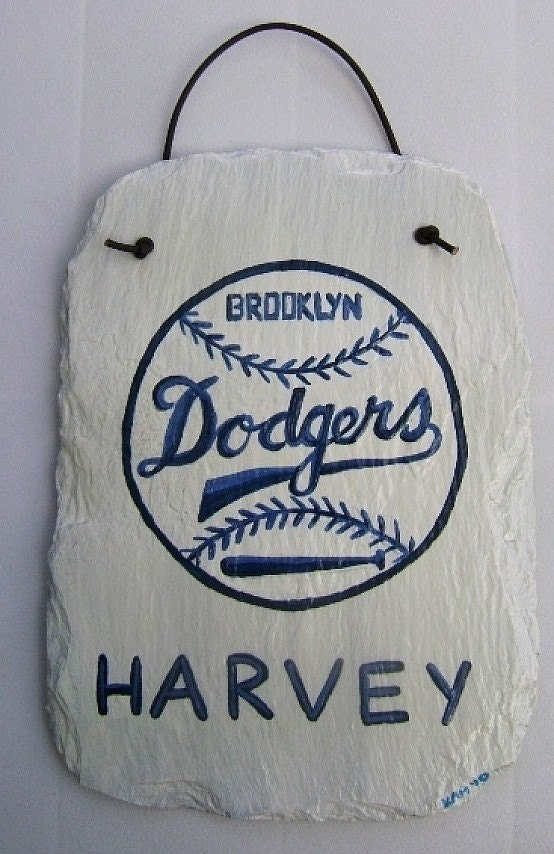 Brooklyn Dodgers Personalized Hand Painted Slate Wall Hanging-MADE TO ORDER
