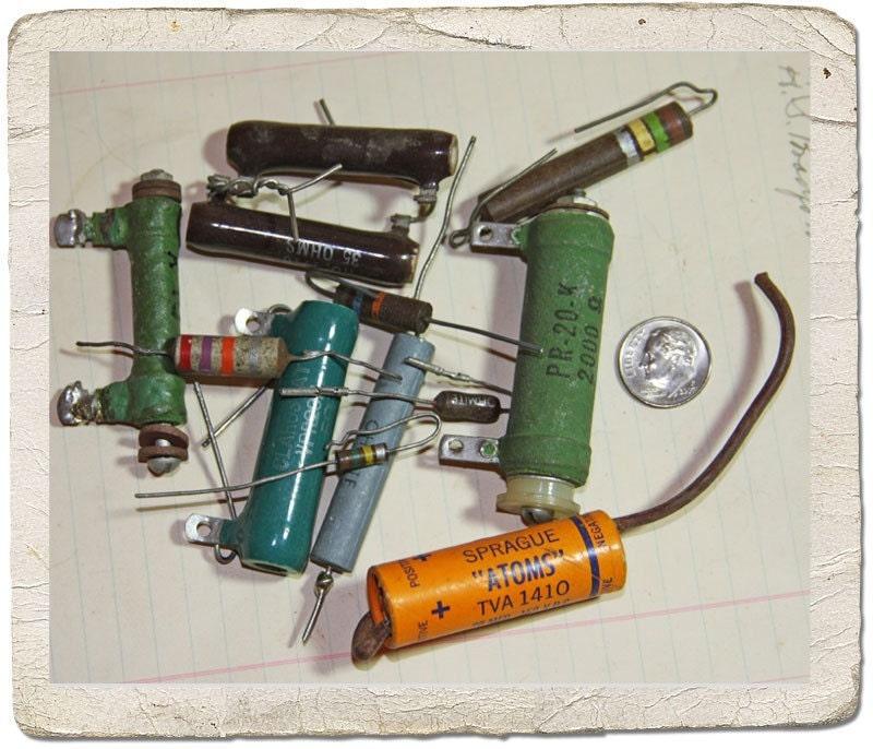 Antique Radio Resistors and capacitors