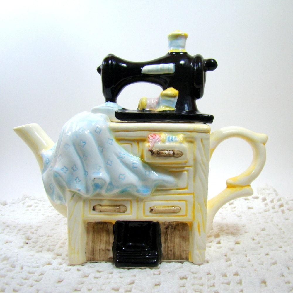 Sewing Machine Teapot Novelty Teapot Ceramic Tea By