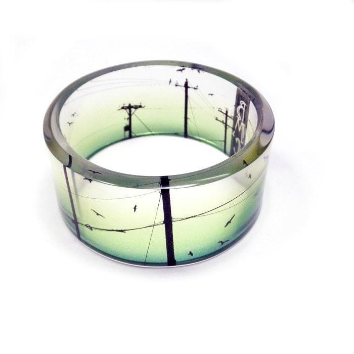 Chunky Bangle Bracelet, Bird on a Wire, resin, photo bracelet, by BuyMyCrap