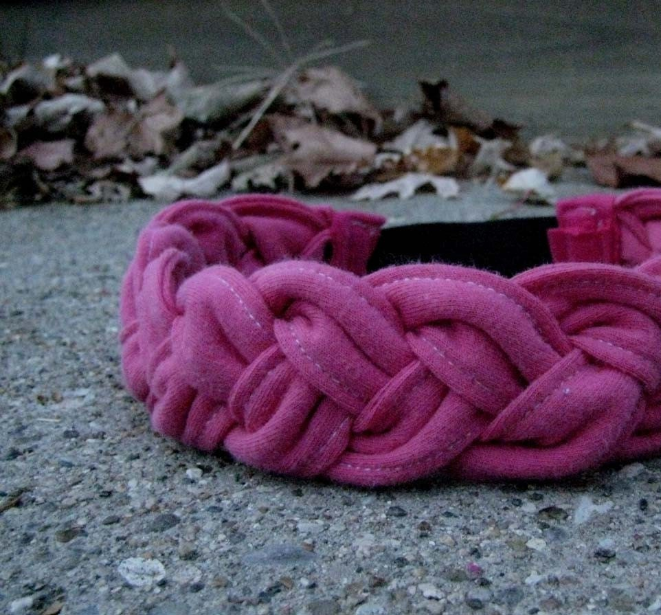 T-Shirt Braid Headband in Pink