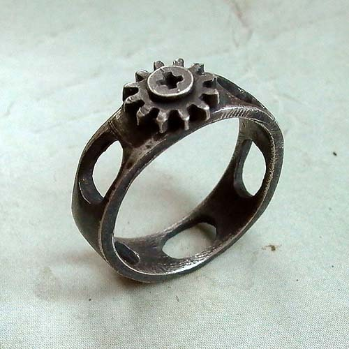 Screw Cap RIng - Size 11 - Black - Sterling Silver - Mini Cog - Oxidized - Industrial Chic - Unisex - Machinist - Nut and Bolt Jewelry