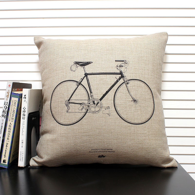 cotton linen Fabrics Decorative shade pillow pillow sham Bicycle Pillow Cover bike pillow pattern cushion cover cushion case pillowcase - ILovePillow