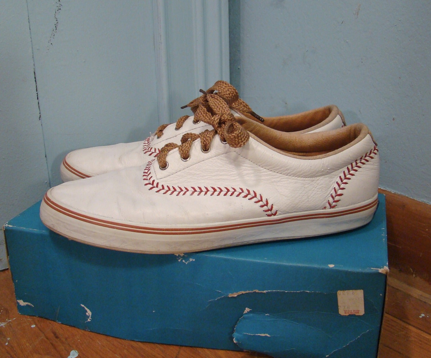 baseball keds tennis shoes white leather 1990 s by