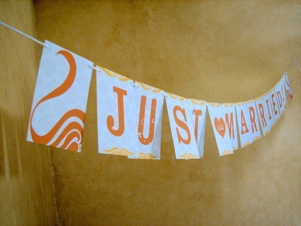 Just Married Sunshine Banner Personalized