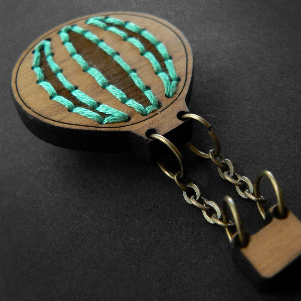 Wooden Hot Air Balloon Brooch with aqua stitching