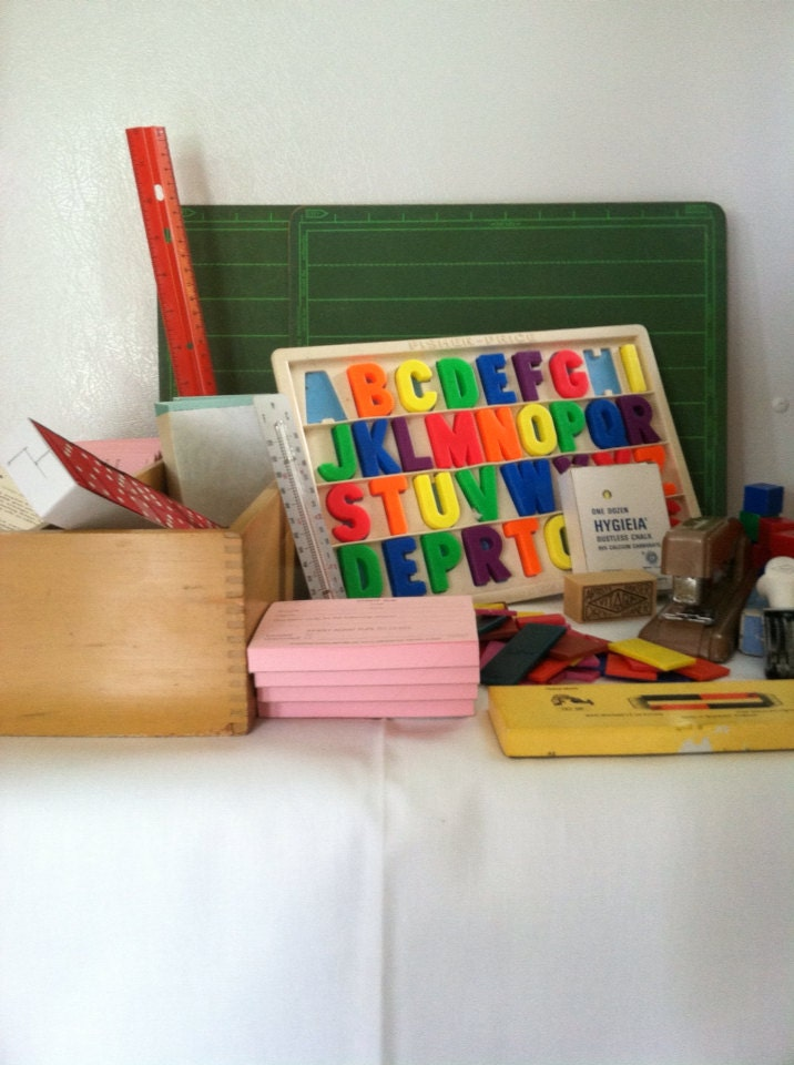 Vintage Lets Play School Set Assembled from Closed School Stock  - MyVintageKit