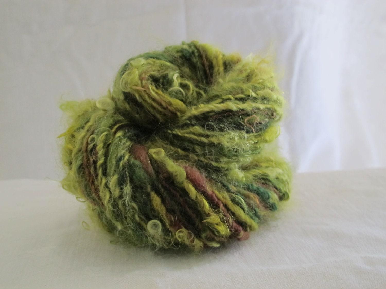 Handspun Singles, Yearling Mohair, Teeswater, Wensleydale, Hand Dyed in Greens and Brown - GrayMoonFiberStudio