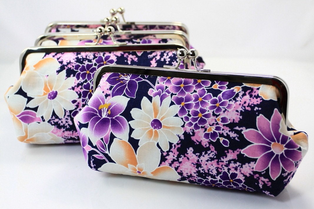 Purple and White Sakura - 8 inches Bridal and Bridesmaid's Silver Frame Clutch - Set of 4