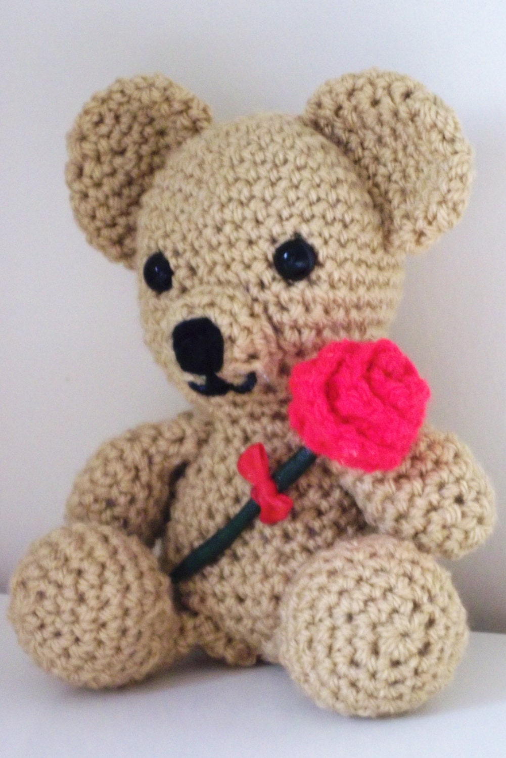 Sale  Reduced in Price. Hand Crocheted Teddy Bear holding a Red Rose. Show Someone you Care!  UK seller!